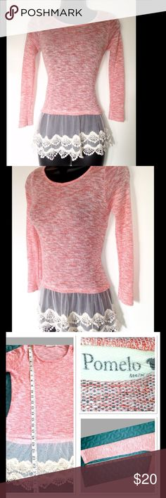 Stitch Fix's Pomelo Sweater Size Small Pomelo women's size small sweater with lace bottom details. Enjoy fast shipping with your order! Pomelo Tops