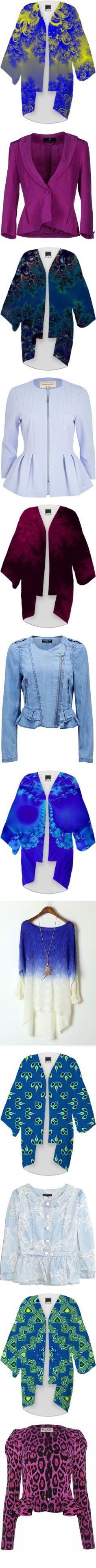 * #OUTERWEAR: #BLUE & #PURPLE * by artist4god-rose-santuci-sofranko on Polyvore featuring polyvore, fashion, clothing, intimates, robes, coats, kimono, kimono robe, outerwear, jackets, blazers, purple, rena lange, long sleeve jacket, multi pocket jacket, single button blazer, silk blazer, sale, textured jacket, light blue jacket, zipper jacket, collarless jacket, jersey knit jacket, purple robe, purple kimono, chambray sky, blue moto jacket, blue biker jacket, biker jacket, chambray jacket…