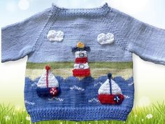 Baby Knitting Patterns Dress Raglan jacket 'by the sea' in 2 sizes – knitting instructions Kids Knitting Patterns, Baby Sweater Knitting Pattern, Knitted Baby Cardigan, Knitting For Kids, Crochet For Kids, Baby Patterns, Dress Patterns, Crochet Baby, Crochet Patterns