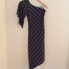 Black And White One Shoulder Dress Tag removed. EUC. Stretchy material. Very stylish. Dresses One Shoulder