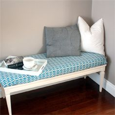 Easily transform a coffee table into an upholstered bench.