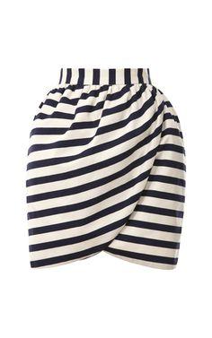 Harvey Faircloth Striped Mini Wrap Skirt