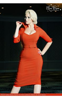 Pinup Couture- Lorelei Dress in Rust. With its roots firmly planted in Old Hollywood glamour, the Lorelei is an incredibly flattering and sophisticated wiggle dress made in soft bengaline fabric that loves your curves. Cuffed three-quarter sleeves, and a collar that can be worn up or down, this dress can be accessorized for business or leisure with ease. The matching belt will cinch in your waistline. - See more at…