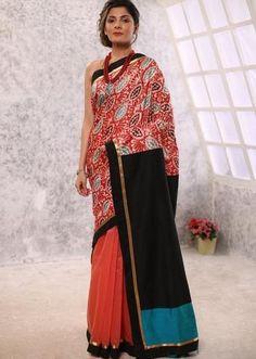 e1c5fe9675eab5 Red Chanderi & hand painted kalamkari combination pallu & border with ikat  blouse piece