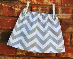 Chevron Stripe Toddler Skirt in Grey and White, Baby Girl Skirt, Handmade Skirt, Chevron Skirt. $15.00, via Etsy.