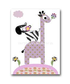 Giraffe Nursery Baby Girl Nursery Art Baby by nataeradownload