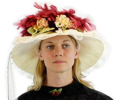 nice Stunning Burgundy and Ivory Fancy Victorian Touring Hat