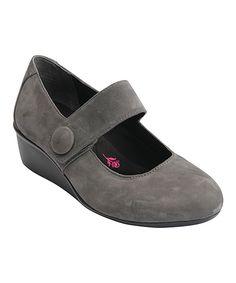 Gray Elsa Leather Mary Jane