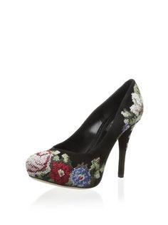 Dolce & Gabbana Embroidered Pump Black Multi $459.00 | Details on fashiontheta.com