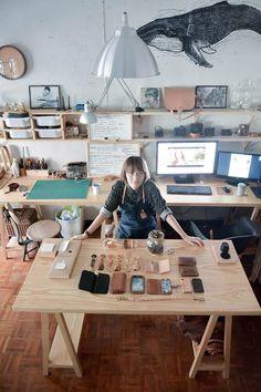 Dekoration Wohnzimmer, – Creative Home Office Design Art Studio Design, Art Studio At Home, Studio Room, Home Art, Studio Setup, Bureau D'art, Art Studio Organization, Workshop Studio, Sewing Studio