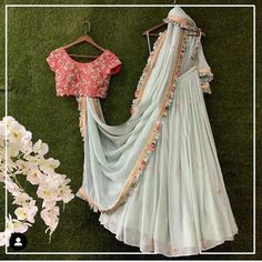 Lehenga : Full flared lehenga Blouse: Full stitched as per your requirement For Any Query you can message us instantly. We ship all products via Express shipping. We customize this lehenga as per your size and color Requirement. We Can make all Size Like small and bigger too. Please Note: We