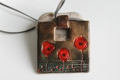 Polymer Clay Pendant - Field Of Poppies | by Monika Polak