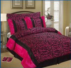 Hot Pink and Black Zebra Print Bedding Set