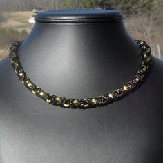 Viera - #Black and Square #Gold Byzantine #Necklace. $40.00, via #Etsy.  #handmade #chainmaille #jewelry #renfaire #fashion #style