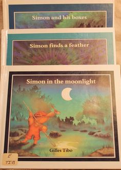 Vintage Simon in Moonlight Finds a Feather His Boxes Lot 3 HB Book Gilles Tibo