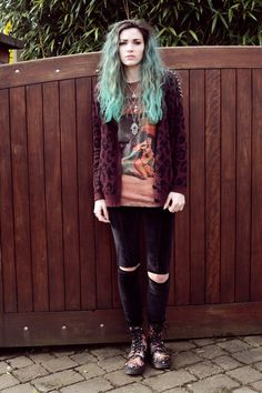 Grunge look in ripped velvet trousers with a tshirt and cardigan x
