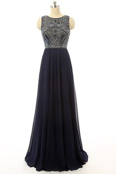 Cheap Prom Dress Navy Blue Beaded Long Graduation Dresses