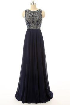 Cheap Prom Dress Navy Blue Beaded Long Graduation Dresses