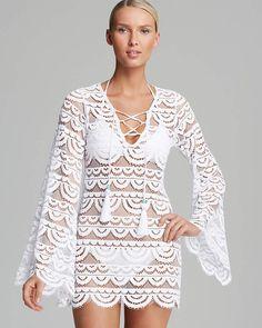 Damen Spitzenkleid Sommerkleid Hollow Out Lace Cover-up Beachwear Bikini Strandtunika Sommer Wei/ß Sondereu Strandkleid Spitze