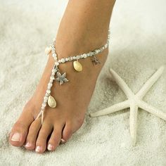 Starfish and Seashell Barefoot Sandals.  Free Shipping. Foot Jewelry for the perfect Wedding Day. Bride and Bridesmaids love Barefoot Sandals. Bridal Party gifts.