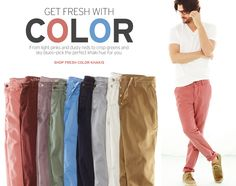 These are literally the perfect colors for men's colored bottoms. They cover all the bases. And the guy wearing them.... Gap.