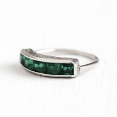 Antique Art Deco Sterling Silver Simulated Emerald Ring Band - Vintage 1920s Size 6 Channel Set Green Glass Stones Stacking H&S Jewelry by Maejean Vintage on Etsy