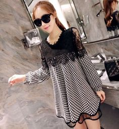 2016 Korean Style Pregnant Woman Long Sleeves Lace Maternity Dress Blouse Shirt
