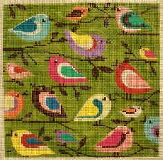 Alice Peterson # 2293 Birds of a Different Color Alice Peterson Handpainted Needlepoint Canvases Cross Stitch Bird, Cross Stitching, Cross Stitch Embroidery, Cross Stitch Patterns, Machine Embroidery, Needlepoint Patterns, Needlepoint Canvases, Fabric Print Design, Bird Canvas