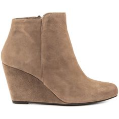 Jessica Simpson Women's Remixx - Slater Taupe Lux Kid Sd ($120) ❤ liked on Polyvore featuring shoes, boots, ankle booties, ankle boots, beige, beige suede booties, faux-suede boots, jessica simpson booties, wedge booties and suede wedge boots