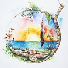 Print and drawing/Mandala Design/Wall Mandala Drawing, Mandala Art, Mandala Design, Whimsical Art, Wall Art Designs, Cute Drawings, Watercolor Paintings, Owl Paintings, Amazing Art