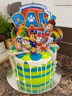 Paw patrol drip cake by Karis - Kindergeburtstag - Drip Cakes, Paw Patrol Torte, Paw Patrol Cupcakes, Fete Laurent, Paw Patrol Birthday Theme, 4th Birthday Cakes, Cakes For Boys, Vintage Cake Toppers, Grands Parents