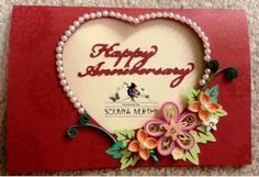 Quilled Anniversary Card  Stamped by smurthy on Etsy, $12.00