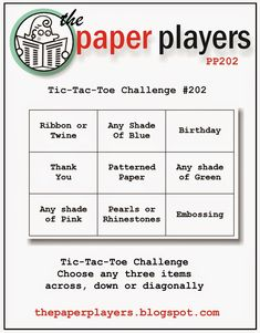 The Paper Players: Paper Players Challenge #202: Sandy's Tic-Tac-Toe Challenge