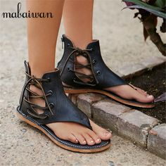 2017 New Hot Genuine Leather Women Flat Sandals Side Lace Up Summer Beach Casual Shoes Woman Flip Flops Sandalias Mujer Flats