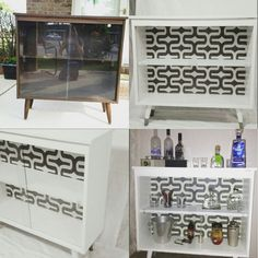 Mid century cabinet makeover mini bar buffet Mini Bar, Mid Century Style, Furniture Makeover, Cabinet, Furniture, Black And White Living Room, Mid Century Cabinet, Room, Cabinet Makeover