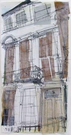 Stockbridge Terrace, Number 3 Collage with Ink and Wax, January 2014 17cm x 35cm