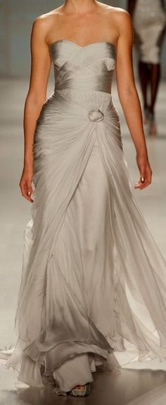 lovely greige evening gown by Pavoni
