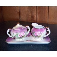 """Lefton Heavenly Rose 2 ¾"""" sugar creamer 7 ⅝"""" tray 099 mauve rose good condition Listing in the Lefton & ESD,China & Porcelain,Porcelain, Pottery & Glass Category on eBid United States 