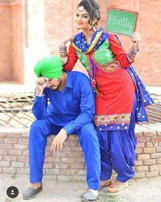 Pin @zaildarni More Punjabi Wedding Couple, Punjabi Couple, Sikh Wedding, Punjabi Bride, Punjabi Suits, Farm Wedding, Boho Wedding, Wedding Reception, Pre Wedding Poses
