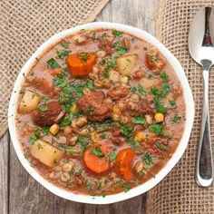 This Slow Cooker Beef Vegetable Barley Stew is hearty, satisfying, and delicious! It's perfect to warm up the family on a winter evening. Feed a crowd!