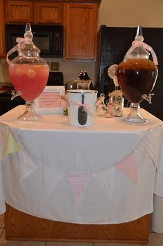 Drink station idea-baby girl shower for my friend, Hellon's, baby shower