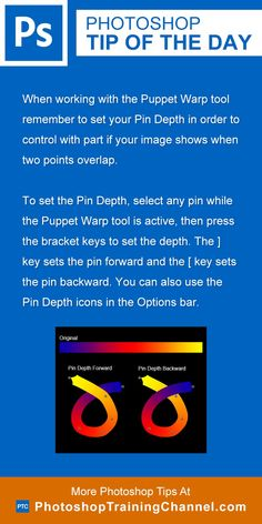 When working with the Puppet Warp tool remember to set your Pin Depth in order…