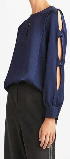 Navy blouse with sleeve detail Sleeves Designs For Dresses, Sleeve Designs, Blouse Styles, Blouse Designs, Designer Wear, Designer Dresses, Sewing Sleeves, Moda Chic, Fashion Outfits