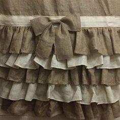 Burlap Drapes, Burlap Shower Curtains, Stenciled Curtains, Tie Up Curtains, Bedroom Curtains, Farmhouse Style Curtains, Shabby Chic Curtains, Farmhouse Decor, Tan Shower Curtain