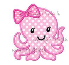Girl octopus applique machine embroidery design by WendysStitch