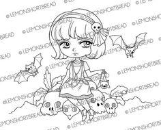 Bat Flapper Girl Digital Stamp Digi Stamps by lemonshortbread