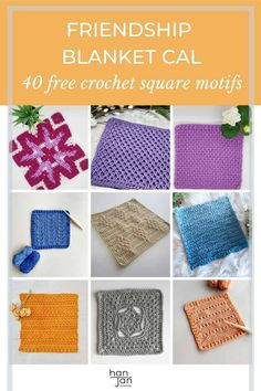 Join us as we share 40 free crochet square motif patterns in the Friendship CAL. Make a yarn stashbuster blanket, scarf, cushion, garment, anything you like and find new designers and fellow crocheters too. #crochetsquare #crochetmotif #cal2021 Free Crochet Square, Crochet Square Patterns, Crochet Squares, Crochet Blanket Patterns, Crochet Motif, Crochet Stitches, Knit Crochet, Aran Weight Yarn, Blanket Scarf