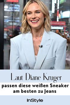 """Obwohl sie hier Blazer trägt, gehört Schauspielerin Diane Kruger definitiv zum Fanclub der Styling-Kombi """"Jeans + Sneaker."""" Hier mehr! #instyle #instylegermany #dianekruger #fashion #sneaker #trend #Fashiontrend"""
