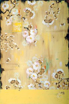 Kathe Fraga Art, www.kathefraga.com Kathe's paintings are inspired by the romance of vintage French wallpapers and Chinoiserie with a modern twist. 36x24 on frescoed birch panel with Japanese gold ink.