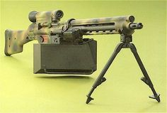 """The Rare H&K """"GR"""" Series bolt-carrier-assembly: """" in Woodland in Sand on shock absorbing tripod """"The GR Series of HK rifle and Machine Gun variants are quite rare. Military Weapons, Weapons Guns, Military Brat, Chinese Weapons, Zombie Survival Gear, Fallout New Vegas Ncr, Custom Guns, Army Vehicles, Cool Guns"""